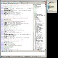 Внешний вид Miranda без установленных тем/плагинов. Открыт канал IRC #cod4.wars. Справа - главное окно Miranda IM.